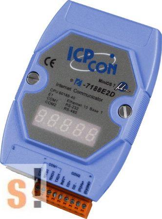 I-7188E2D # Device Server/Ethernet - RS-232/485 konverter/ 1x RS-232 és 1x RS-485 port/ LED, ICP DAS