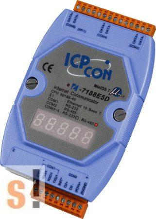 I-7188E5D-485 # Device Server/Ethernet - RS-232/485 konverter/ 1x RS-232 és 4x RS-485 port/LED, ICP DAS