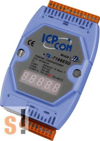 I-7188E5D # Device Server/Ethernet - RS-232/485 konverter/ 4x RS-232 és 1x RS-485 port/LED, ICP DAS