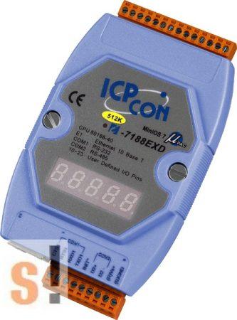 I-7188EXD-512 CR # Controller/MiniOS7/C nyelv/Ethernet/512KB/I-O bővítés/LED, ICP DAS