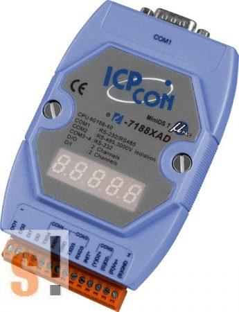 I-7188XAD # Controller/Nincs Ethernet/MiniOS7/C nyelv/2x DI/2x DO/LED, ICP DAS