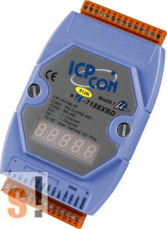 I-7188XBD-512 # Controller/Nincs Ethernet/MiniOS7/C nyelv/1x DI/1x DO/LED, ICP DAS