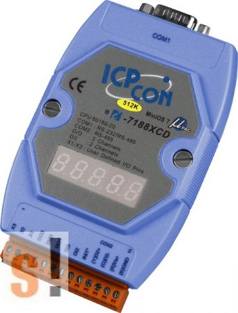 I-7188XCD-512  # Controller/Nincs Ethernet/MiniOS7/C nyelv/2x DI/3x DO/512KB/LED, ICP DAS