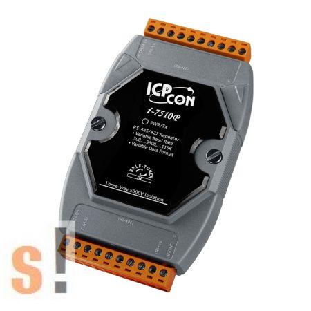 I-7510P # 5 kV szigetelt RS-485 vonalerősítő/ repeater/ 3x szigetelés/ IEC 60664-1,  ICP DAS ICP CON