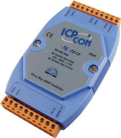 I-7513 # 3 portos RS-485 hub/aktív csillagpontos/3 különálló RS-485 meghajtó/vonalerősítő, repeater funkció/ 3000 Vdc szigetelt, ICP DAS
