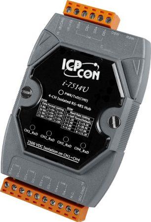 I-7514U-G-CR # 4 csatornás RS-485 vonalerősítő-hub/2500 Vdc szigetelt,  ICP DAS