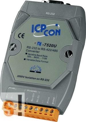 I-7520U # Konverter/RS-232 - RS-422/485/szigetelt/fix adatsebességek,  ICP DAS