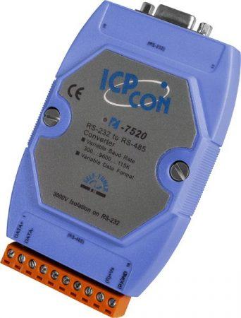 I-7520 # RS-232 - RS-485 konverter/ szigetelt/3000  Vdc/ ipari/ DIN sínre/ ICP DAS, ICP CON