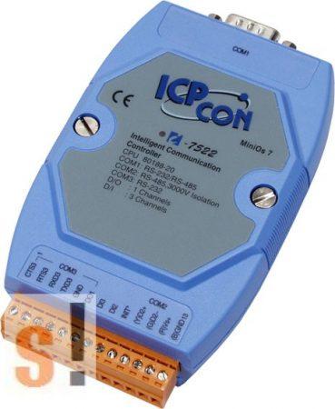 I-7522 # Konverter/1x RS-232/485/1x RS-485/1x RS-232 port/2x DI/1x DO, ICP DAS