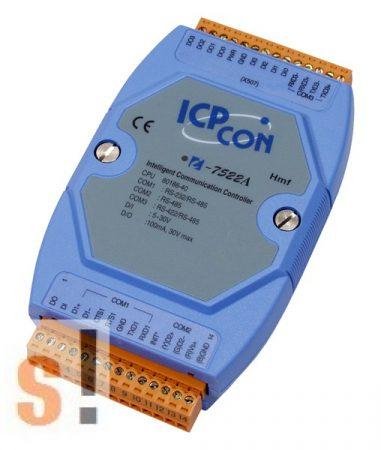 I-7522A # Konverter/1x RS-232/485, 1x RS-485, 1x RS-422, 5x DI, 5x DO, ICP DAS