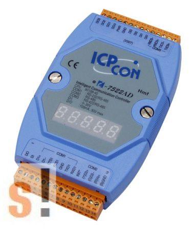 I-7522AD # Konverter/1x RS-232/485, 1x RS-485, 1x RS-422, 5x DI, 5x DO/LED, ICP DAS
