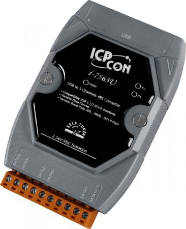I-7563U # USB - 3x RS-485 portos konverter / hub /aktív csillag topológia/ 3x RS-485 port/1x USB port/Win.8.0/8.1/10 , ICP DAS