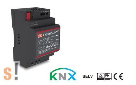 KNX-20E-640 # Tápegység/KNX/EIB/ 19,2W/ 30VDC/ 640mA/integrált áramgenerátor/DIN sínre, Mean Well