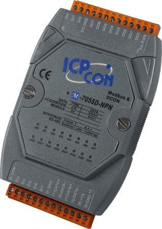M-7055D-NPN # I/O Module/Modbus RTU/DCON/8DI/8DO/NPN/LED, ICP DAS, ICP CON