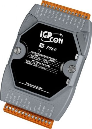 M-7069 # I/O Module/Modbus RTU/4 Relay A/4 Relay C/6A, ICP DAS, ICP CON