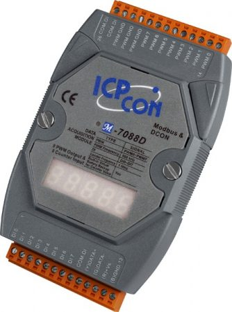 M-7088D-G/S # I/O Module/Modbus RTU/8 Counter/8 DO/LED/DN-8PC8C-CA, ICP DAS, ICP CON