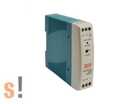 MDR-20-12 # Stabilizált tápegység/DIN sínre/12 VDC/1.67 A/20W, Mean Well