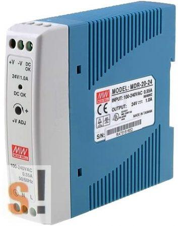 MDR-20-24 # Stabilizált tápegység/DIN sínre/24 VDC/1.0 A/20W, Mean Well