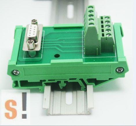 MOD-09-F # DB9/D-SUB 9 mama - sorkapocs átalakító/DIN sínre
