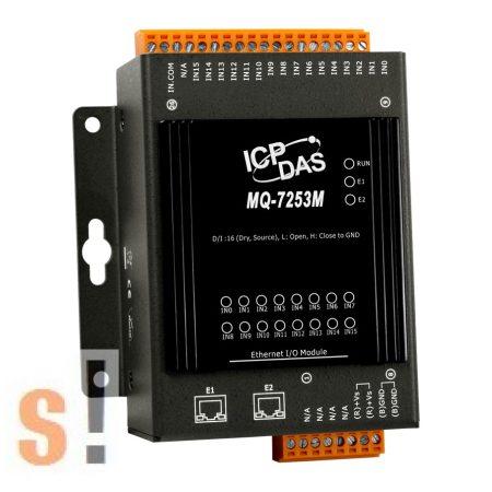 MQ-7253M # Ethernet I/O Modul/MQTT/2 portos Ethernet Switch/16x DI, ICP DAS