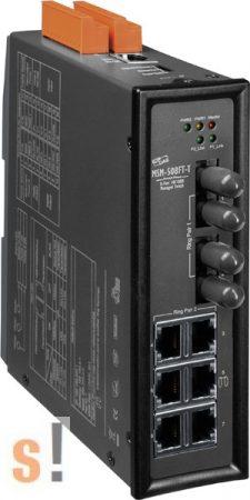MSM-508FT-T # 8 portos Layer 2 menedzselt switch, 2 Fiber porttal, Multi-mód, ST csatlakozó, 3x DI-O, ICP DAS