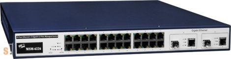 MSM-6226 CR # 24-port Ethernet + 2 TP/SFP Gigabit Dual Media Layer2 Managed Switch, ICP DAS