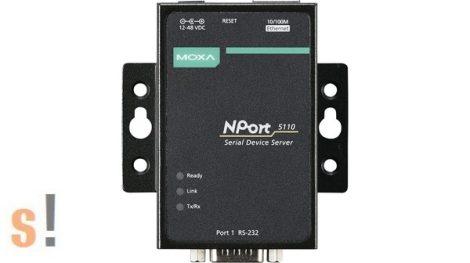 NPort 5110 # Soros - Ethernet szerver/ 1x RS-232 port/ DB9 csatlakozó/ 10/100Ethernet, MOXA