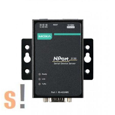 NPort 5130 # Soros - Ethernet szerver/ 1x RS-422/485 port/ DB9 csatlakozó/ 10/100Ethernet, MOXA