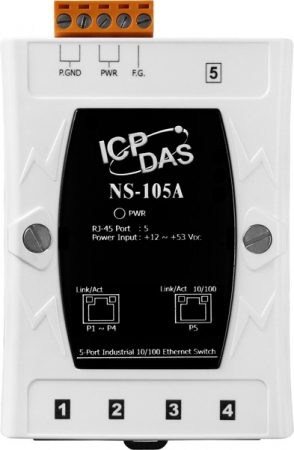 NS-105A # Ethernet switch, 5 port, 10/100 Mbps, +12 ~ +53 VDC, ICP DAS