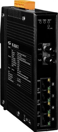NS-205AFT-T CR # Multi-mód, ST csatlakozó, 4-port 10/100 Mbps és 1 Fiber port switch, ICP DAS