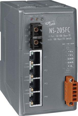 NS-205FC  # Multi-mód, SC csatlakozó, 4-port 10/100 Mbps és 1 fiber port Switch, ICP DAS