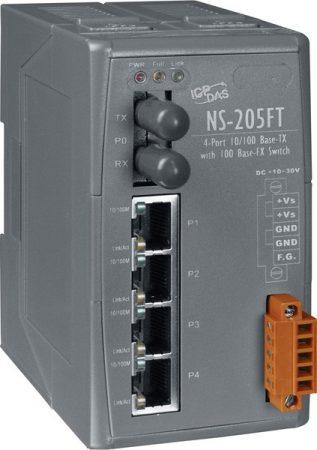 NS-205FT  # Multi-mód, ST csatlakozó, 4-port 10/100 Mbps és 1 fiber port Switch, ICP DAS