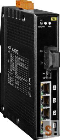 NS-205PFCS-24V  # Single-mód, 30km, SC csatlakozó, 4-port 10/100 Mbps PoE (PSE) és 1 Fiber port switch, 24Vdc,  ICP DAS