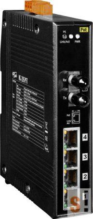 NS-205PFT-24V # Multi-mód, ST csatlakozó, 4-port 10/100 Mbps PoE (PSE) és 1 Fiber port switch, 24Vdc,  ICP DAS