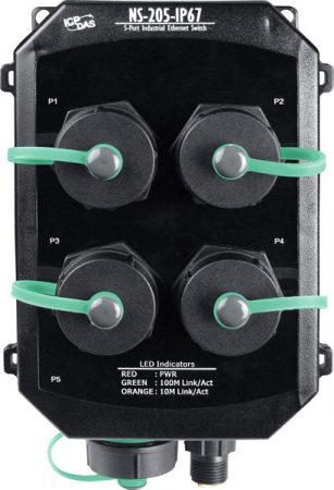 NS-205PSE-IP67 # Ipari PoE Ethernet switch, 5 port, IP67 védettség, ICP DAS