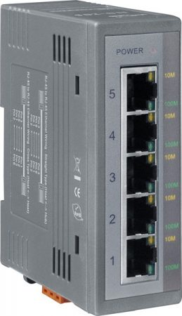 NS-205 # Ethernet switch/ 5 port/ 10/100 Mbps/ ipari/ DIN sínre/ +10~30Vdc táp/-40 °C ~ +75 °C/ ICP DAS