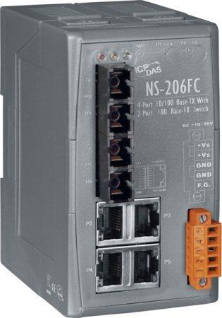 NS-206FC # Multi-mód, SC csatlakozó, 4-port 10/100 Mbps és dupla fiber port switch, ICP DAS