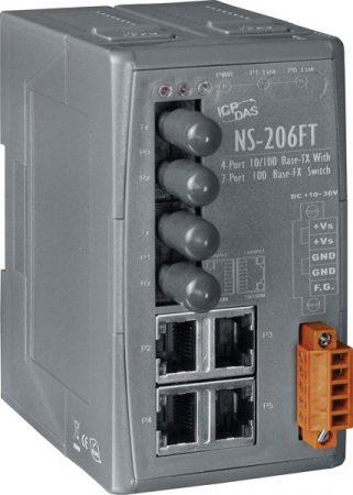 NS-206FT CR # Multi-mód, ST csatlakozó, 4-port 10/100 Mbps és dupla fiber port switch, ICP DAS