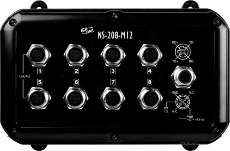 NS-208-M12-IP67 # Ethernet Switch, 8 port, IP67, M12 csatlakozók, ICP DAS
