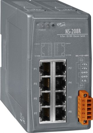 NS-208R # Ipari 10/100 Mbps Ethernet Switch, vasúti, ICP DAS
