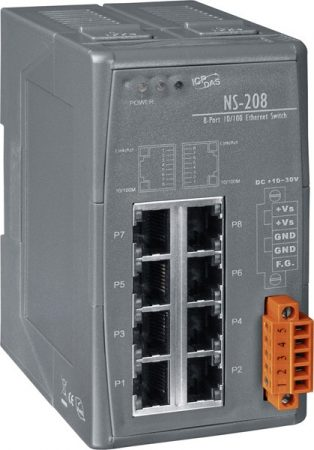 NS-208 # Ipari Ethernet switch/ 8 port/ 10/1000Mbps/ -40 °C ~ +75 °C/ 10-30Vdc/DIN sínre/ ICP DAS