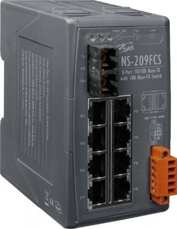 NS-209FCS # Single-mód, 30km, SC csatlakozó, 8-port 10/100 Mbps és 1 fiber port switch, ICP DAS