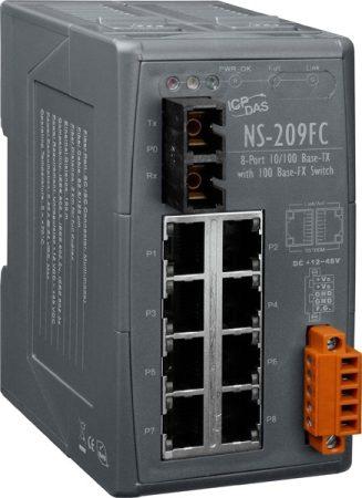 NS-209FC # Multi-mód, SC csatlakozó, 8-port 10/100 Mbps és 1 fiber port switch, ICP DAS