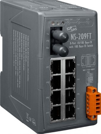 NS-209FT # Multi-mód, ST csatlakozó, 8-port 10/100 Mbps és 1 fiber port switch, ICP DAS