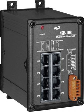 NSM-108 # Ipari Ethernet switch, 8 port, fémház, ICP DAS