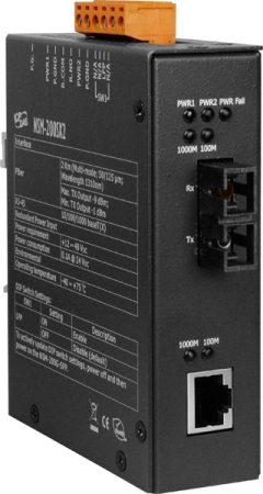 NSM-200SX2  # Ipari 1000 Base-T -- 1000 Base-SX Fiber konverter, Multi-mód 1310 nm, 2 km, SC csatlakozó, ICP DAS