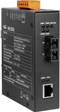 NSM-200SX CR # Ipari 1000 Base-T -- 1000 Base-SX Fiber konverter, Multi-mód 850 nm, 0.55 km, SC csatlakozó, ICP DAS