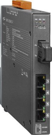 NSM-205AFCS-T CR # Single-mód, 30km, SC csatlakozó, 4-port 10/100 Mbps és 1 Fiber port switch, fémház, ICP DAS
