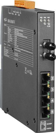 NSM-205AFT-T CR # Multi-mód, ST csatlakozó, 4-port 10/100 Mbps és 1 Fiber port switch, fémház, ICP DAS