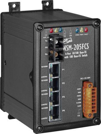 NSM-205FCS  # Single-mód, 15 km, SC csatlakozó, 4-port 10/100 Mbps és 1 fiber port Switch, fémház,  ICP DAS
